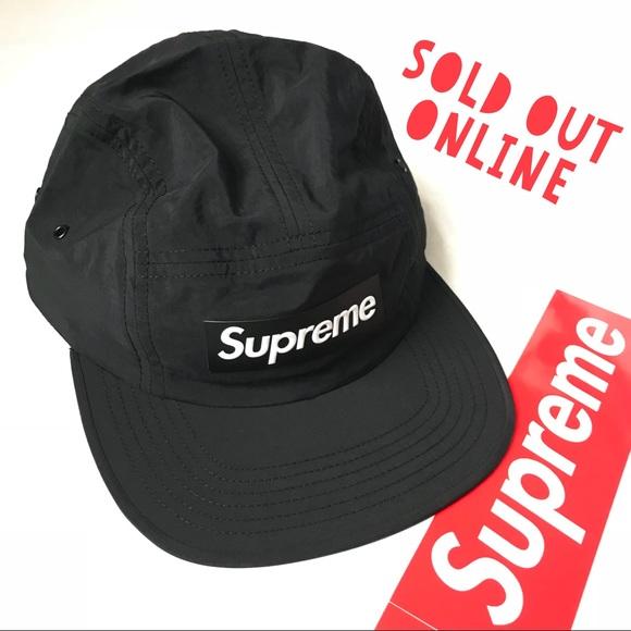 Supreme Raised Logo Bogo Patch Camp Cap Hat Black NWT 2b9d35a861e